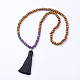 Natural Gemstone and Wood Beaded Buddhist Necklaces(NJEW-JN01779-03)-1