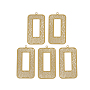430 Stainless Steel Filigree Pendants, Spray Painted, Etched Metal Embellishments, Rectangle, Goldenrod, 43x22.5x0.4mm, Hole: 1.6mm