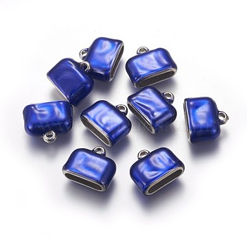 CCB Plastic Cord Ends, End Caps, with Enamel, Rectangle, Blue, 15.5x18.5x8mm, Hole: 2.5mm; Inner Size: 4x14.5mm(CCB-F011-01P)