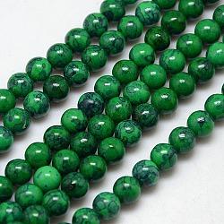 """Chapelets de perles en fossile synthétique, teints et chauffée, rond, darkgreen, 4mm, trou: 1mm; environ 90 pcs/chapelet, 15.7""""(X-G-L028-4mm-08)"""