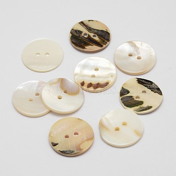 2-Hole Flat Round Shell Buttons, Seashell Color, 23x2.5mm, Hole: 2mm(SHEL-P012-24)
