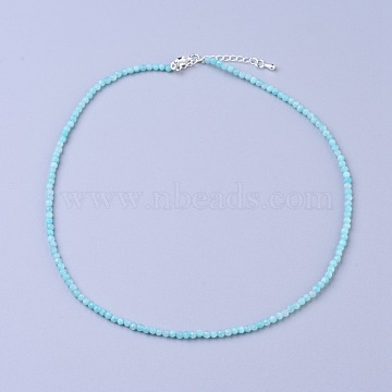 Natural Amazonite Beaded Necklaces, with Brass Lobster Claw Clasps, Faceted Round Beads, 16.5 inches~16.7 inches(42~42.5cm)x3~3.5mm(NJEW-K114-B-A07)