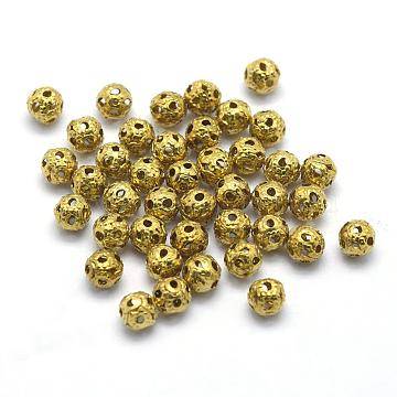 Brass Filigree Beads, Filigree Ball, Lead Free & Cadmium Free & Nickel Free, Round, Raw(Unplated), 4mm, Hole: 1mm(KK-A143-08C-RS)