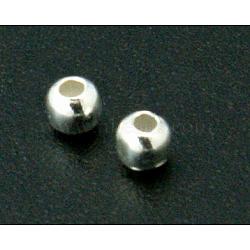 Perles séparateurs en argent sterling, rond, taille: environ 2mm de diamètre, Trou: 0.7~1mm, environ 1400 pcs/50 g(STER-A010-25)