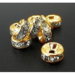 Железа горный хрусталь разделительные бусинки, класс А, прямой край, рондель, золото, прозрачные, Размер : диаметром около 6 мм , толщиной 3 мм , отверстие : 1.5 мм(X-RB-A010-6MM-G)