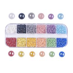 12 цветные перламутровые фарфоровые кабошоны ручной работы, полукруглые / купольные, разноцветные, 3x1 мм, около 410~420pcs / сравнения, 4920~5040 шт / коробка(PORC-JP0001-14-3mm)