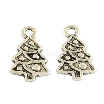 Christmas Tree Alloy Pendant Settings for Enamel, Tibetan Style, Cadmium Free & Nickel Free & Lead Free, Antique Silver, 20x12x2mm, Hole: 2mm(TIBEP-GC154-AS-NR)