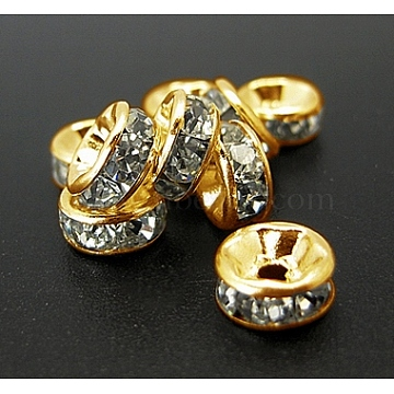 Iron Rhinestone Spacer Beads, Grade A, Straight Edge, Rondelle, Golden Color, Clear, Size: about 6mm in diameter, 3mm thick, hole: 1.5mm(X-RB-A010-6MM-G)