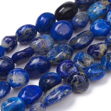 Natural Lapis Lazuli Beads Strands, Nuggets, Tumbled Stone, 5~10x4~5x3~4mm, Hole: 0.8mm; about 61pcs/strand, 15.35 inches(39cm)(X-G-L493-40)