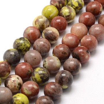 Natural Cherry Blossom Jasper Beads Strands, Round, Colorful, 6mm, Hole: 1mm, about 60~66pcs/strand, 15~15.7inches(X-G-A163-02-6mm)