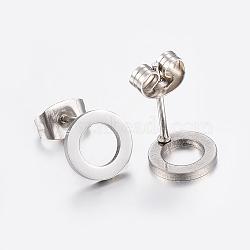 304 из нержавеющей стали уха шпильки, плоские круглые, нержавеющая сталь цвет, 8x1 mm; контактный: 0.8 mm(X-EJEW-E225-02P)