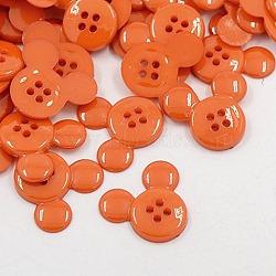 Boutons en plastique acrylique, boutons de couture, 4-trou, teint, tête de souris, orange foncé, 22x20x3mm, Trou: 1mm(X-BUTT-E062-02)