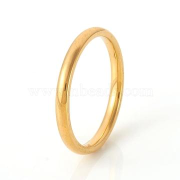 304 Stainless Steel Plain Band Rings, Real 18K Gold Plated, Size 6, Inner Diameter: 16mm, 2mm(RJEW-G107-2mm-6-G)