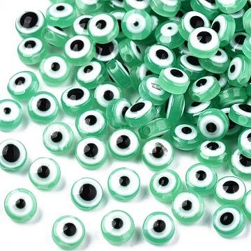 Resin Beads, Flat Round, Evil Eye, Aquamarine, 6x4mm, Hole: 1.5mm(X-RESI-S339-4x6-12)
