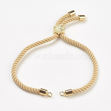 Nylon Twisted Cord Bracelet Making, Slider Bracelet Making, with Brass Findings, Cadmium Free & Lead Free, Long-Lasting Plated, Tree of Life, Light Khaki, Real 18K Gold Plated, 9 inches(23cm); 2mm, Hole: 2mm; single chain length: about 12.5cm(X-MAK-F018-08G-RS)
