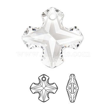 Austrian Crystal Pendants, 6867, Crystal Passions, Faceted Greek Cross Pendants, 001_Crystal, 14x14x7mm, Hole: 1mm(6867-14mm-001(U))