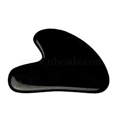 Natural Black Obsidian Gua Sha Boards, Scraping Massage Tools, Gua Sha Facial Tools, Heart, 71~73x48~55x5~6mm(G-J306-03C)