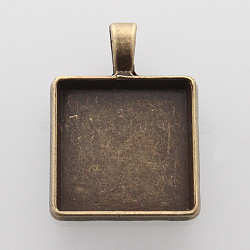 Alliage carré supports pendentif cabochon, sans nickel, bronze antique, plateau: 20x20 mm; 32~32.5x24x4 mm, Trou: 3.5x6mm(X-PALLOY-N0088-07AB-NF)