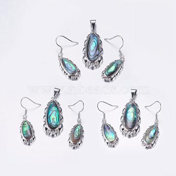 Paua Shell Jewelry Sets, Dangle Earrings and Pendants, with Alloy Findings, Teardrop, 34.5x14x4mm, hole: 3.5x8mm; 37mm, pin: 0.7mm(SJEW-F155-03P)