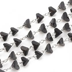 faits à la main des chaînes de perles de verre, soudé, avec bobine, avec les résultats en laiton, facettes, Platine plaqué, noir, 2x4x4 mm; à propos de 25 m / roll(CHC-N015-06A-P)