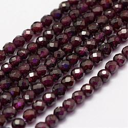"""Chapelets de perles de grenat naturel, facette, rond, 4mm, trou: 1mm; environ 86~100 pcs/chapelet, 15.1~15.5"""" (38.5~39.5 cm)(G-F460-28)"""
