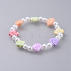 """Bracelets extensibles pour enfants, avec perle acrylique imitée et perles acryliques colorées, pétoncles / shell, colorées, 1-5/8"""" (4.3 cm)(BJEW-JB04572-03)"""