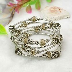 Bracelets enroulés à la mode, avec des perles de verre rondelles, Coupelles de style tibétain , laiton perles de tubes et de fils d'acier de la mémoire, Darkkhaki, diamètre intérieur: 55 mm(BJEW-JB00628-11)