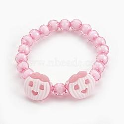 """Bracelets extensibles en perles acryliques pour enfants, boutons en acrylique avec pomme, rose, 1-7/8"""" (4.8 cm)(BJEW-JB03887-01)"""