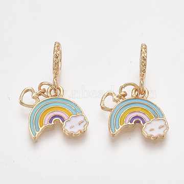 Alloy European Dangle Beads, with Colorful Enamel, Large Hole Pendants, Rainbow with Heart, Golden, 26.5mm, Hole: 4.5mm; Rainbow: 15x15x1.5mm, Heart: 8x5x1mm(X-MPDL-S067-55G)