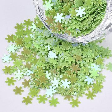 Ornament Accessories, PVC Plastic Paillette/Sequins Beads, AB Color Plated, Snowflake, Light Green, 4.5x4x0.4mm; about 117000pcs/500g(PVC-T021-09B)