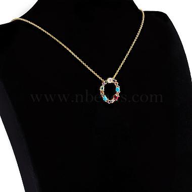 Brass Micro Pave Cubic Zirconia Initial Pendants Necklaces(NJEW-S069-JN002-O)-2