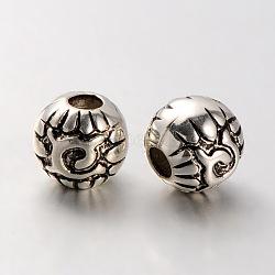 Perles sculptées en plastique CCB, grandes perles rondes de trou, argent antique, 16mm, Trou: 6mm(CCB-J029-22AS)