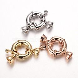 латунная застежка пружинного кольца, кадмия и никеля и свинца, cmешанный цвет, 15x5 mm, отверстия: 4.5 mm(KK-O091-01-NR)