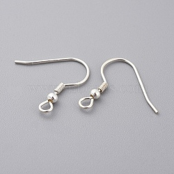 925 Sterling Silver Earring Hooks, with Loop, Carved 925, Silver, 14.5x15x2.5mm, Hole: 1.2mm; Pin: 0.7mm(X-STER-K167-052S)