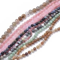 природных драгоценных камней бисер нитей, окрашенный, cmешанные камень, вокруг, 4~12 mm, отверстия: 0.8~1.2 mm; о 64 шт / прядь, 15~15.5 (38~39 см)