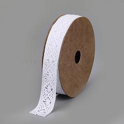 Cotton Ribbons, Rhombus Pattern, White, 5/8inch(14~16mm); about 2yards/roll(1.829m/roll)(SRIB-Q018-10B)