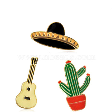 Creative Zinc Alloy Brooches, Enamel Lapel Pin, with Iron Butterfly Clutches, Hat & Guitar & Cactus, Golden, Mixed Color, 16~33x13~30mm, Pin: 1mm, 3pcs/set(JEWB-Q031-135)