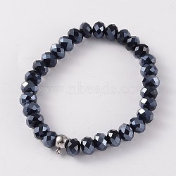 Korean Elastic Thread Glass Beaded Stretch Bracelet Making, with 304 Stainless Steel Findings, Black, 2-1/8 inches(5.5cm)(X-BJEW-JB02167-03)