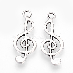 Tibetan Style Alloy Pendants, Musical Note, Cadmium Free & Lead Free, Antique Silver, 24.5x9.5x1.5mm, Hole: 2mm