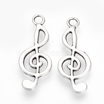 Tibetan Style Alloy Pendants, Musical Note, Cadmium Free & Lead Free, Antique Silver, 24.5x9.5x1.5mm, Hole: 2mm(X-TIBE-S309-83AS-RS)
