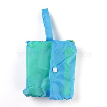 Portable Nylon Mesh Grocery Bags, for School Travel Daily Beach Bags Fits, Sky Blue, 78cm(ABAG-J001-A02)
