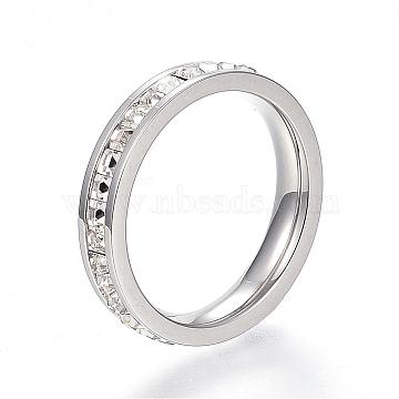 304 Stainless Steel Finger Rings, with Rhinestones, Stainless Steel Color, Size 7, 17mm(RJEW-G081-35P-17mm)