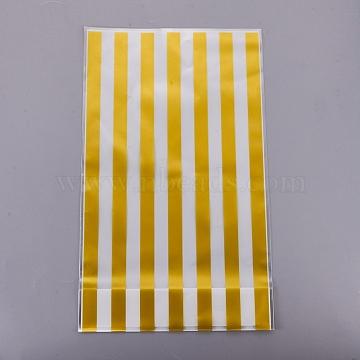 sacs de bonbons en plastique, Motif de rayures, or, 24.8x14.9 cm; à propos de 50 pcs / sac(ABAG-TAC0001-01A)