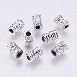 Perles en alliage, colonne, argenterie, 8.5x5.5mm, Trou: 2mm(PALLOY-P168-076)