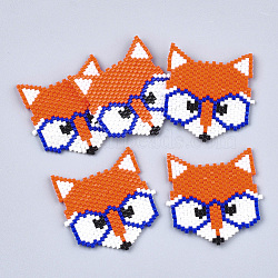 Handmade Japanese Seed Beads, Loom Pattern, Fox, OrangeRed, 34~35x32x2mm(SEED-T002-20)