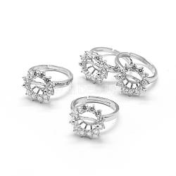 Laiton composants d'anneau pour les doigts, avec zircons, réglable, clair, platine, 18mm(KK-L184-51P)