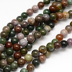Natural Indian Agate Round Beads Strands, 6mm, Hole: 1mm; about 62pcs/strand, 15.3inches