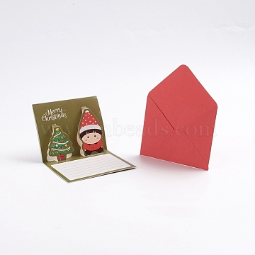 Christmas Pop Up Greeting Cards and Envelope Set, Funny Unique 3D Holiday Postcards, Gifts for Xmas, Christmas Tree and Child Pattern, Olive, 8.5x10.5x0.01cm; 81x10x0.04cm(X-DIY-G028-D01)