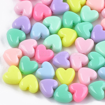 Acrylic Beads, Heart, Mixed Color, 9.5x10.5x6mm, Hole: 2mm(X-MACR-T023-06)
