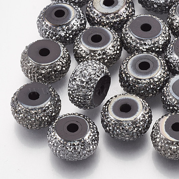 14mm Gray Rondelle Resin+Rhinestone Beads